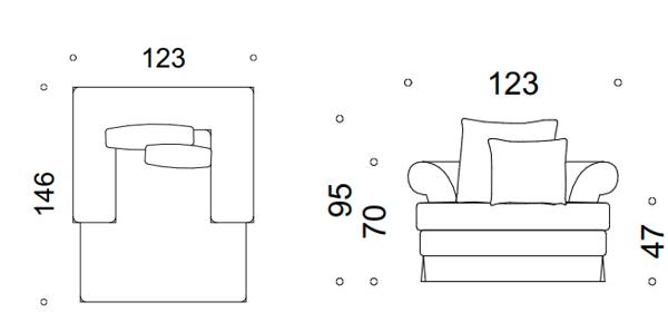 modena II fotel z falbanką