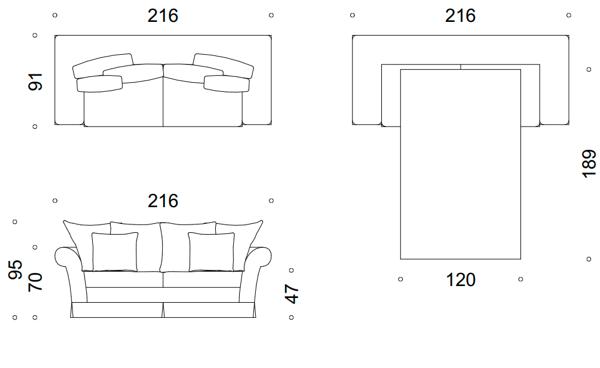 modena II sofa 2-ososbowa z falbanką 2
