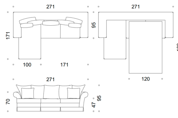 modena II sofa narożna z falbanką 2